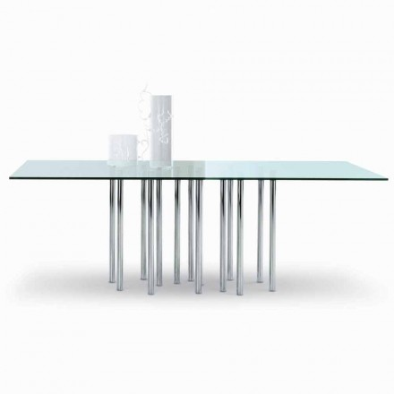 Bonaldo Mille dining table, crystal and chromed steel, made in Italy