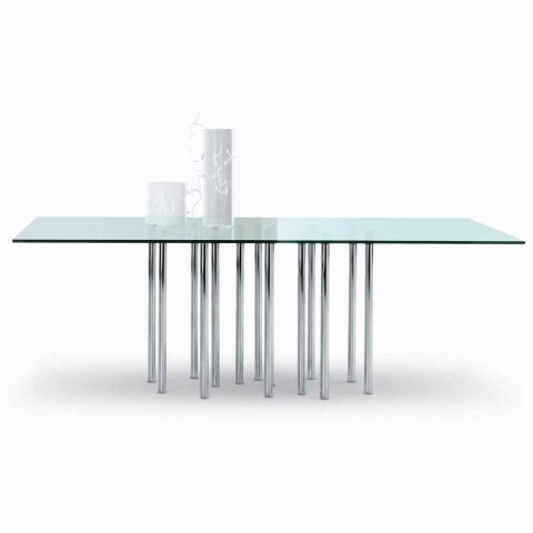 Bonaldo Mille crystal design table and chrome steel made in Italy