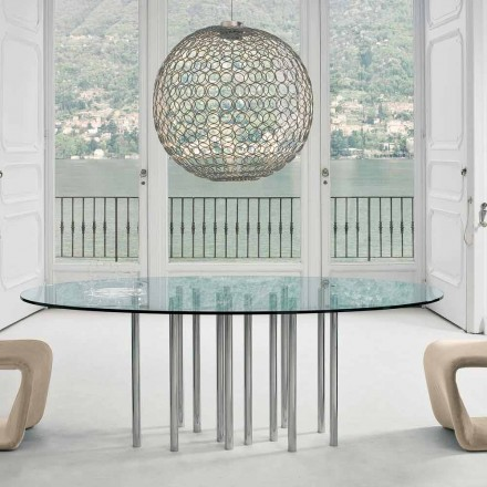 Bonaldo Mille round table, crystal and chromed steel, made in Italy