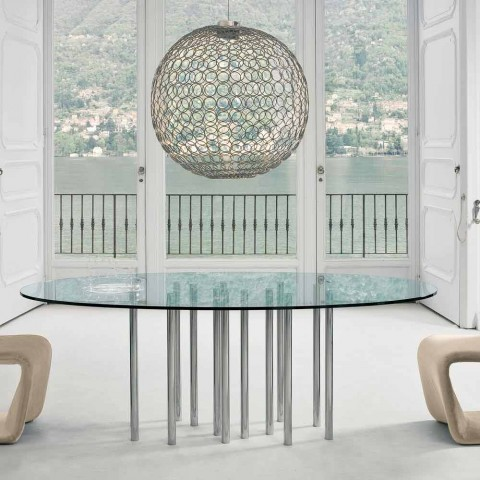 Bonaldo Mille round table in crystal and chromed steel made in Italy