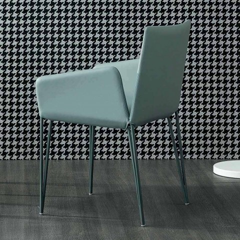 Bonaldo Miss Filly upholstered leather chair with armrests made in Italy