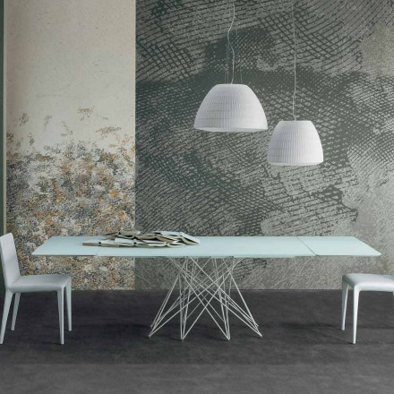 Bonaldo Octa extending table in white etched crystal, made in Italy