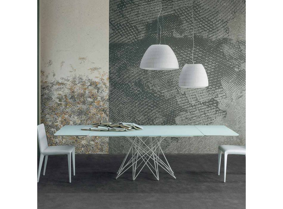 Bonaldo Octa extendable white etched crystal table made in Italy