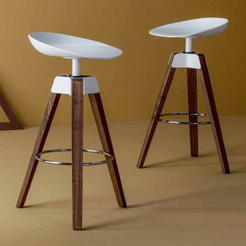 Bonaldo Plumage swivel stool made of steel and wood made in Italy