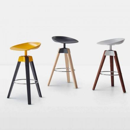 Bonaldo Plumage swivel stool in steel and wood made in Italy