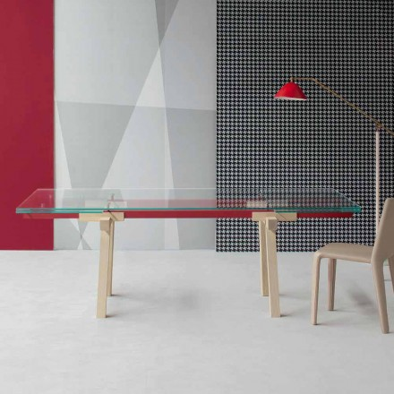 Bonaldo Tracks extending table, extra-clear crystal top made in Italy
