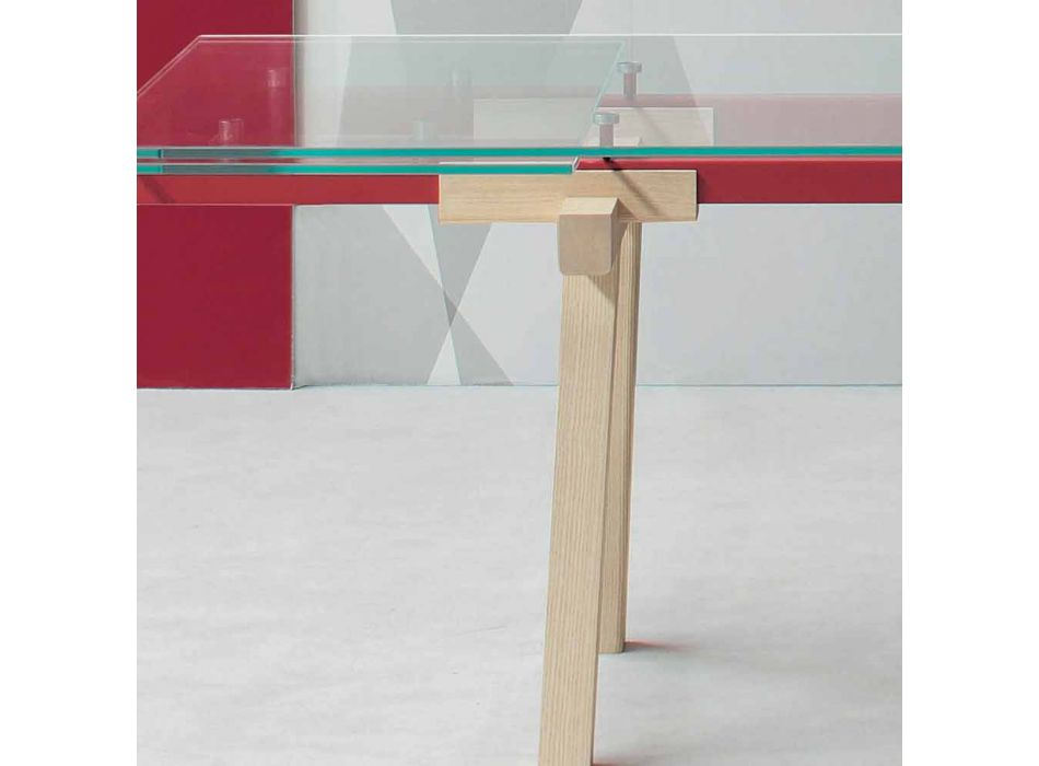 Bonaldo Tracks extendable extra-clear glass table made in Italy