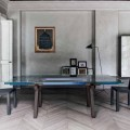 Bonaldo Tracks extending dining table, crystal and wood, made in Italy