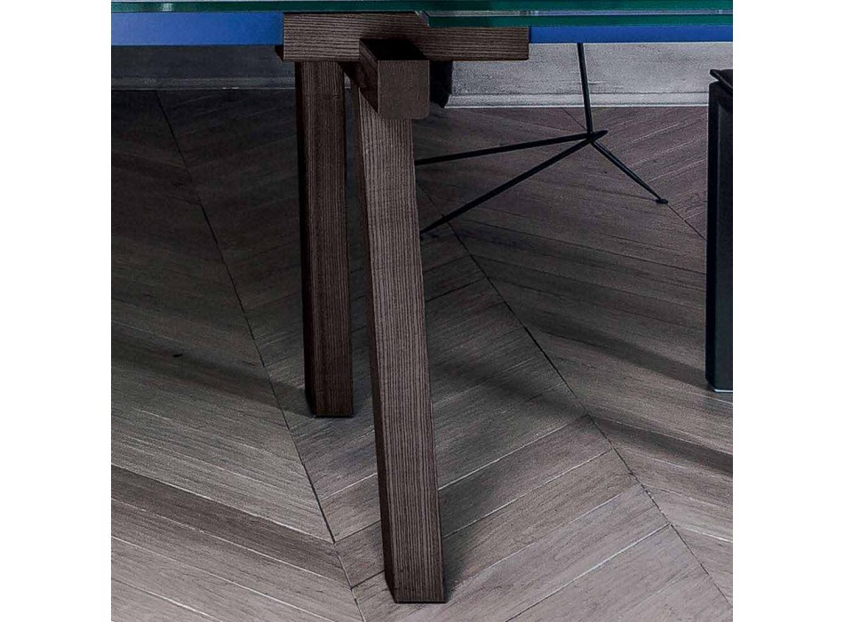Bonaldo Tracks extensible crystal wood design table made in Italy