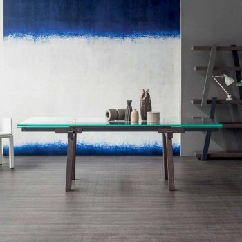 Bonaldo Tracks extendable crystal dining table made in Italy