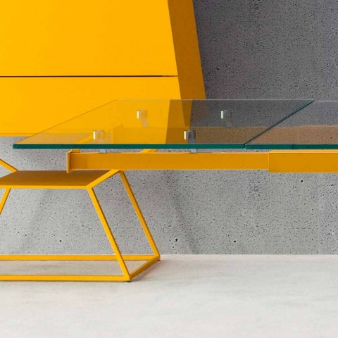 Bonaldo Tracks extensible table design crystal and wood made in Italy