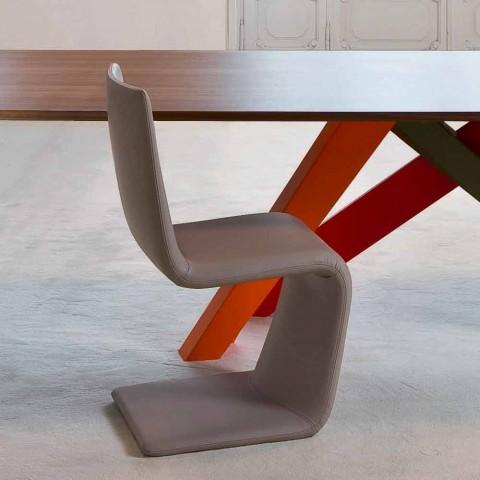Bonaldo Venere modern design chair upholstered in leather made in Italy