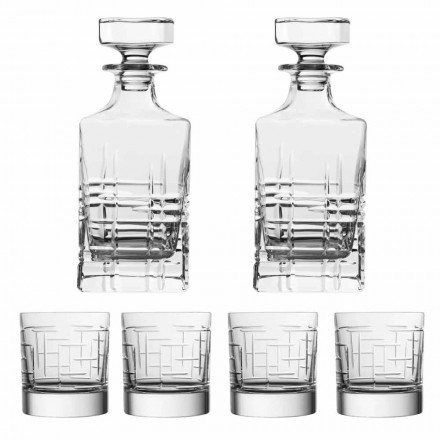 6 Pcs Luxury Eco Crystal Whiskey Bottle and Glasses, Luxury Line - Aritmia