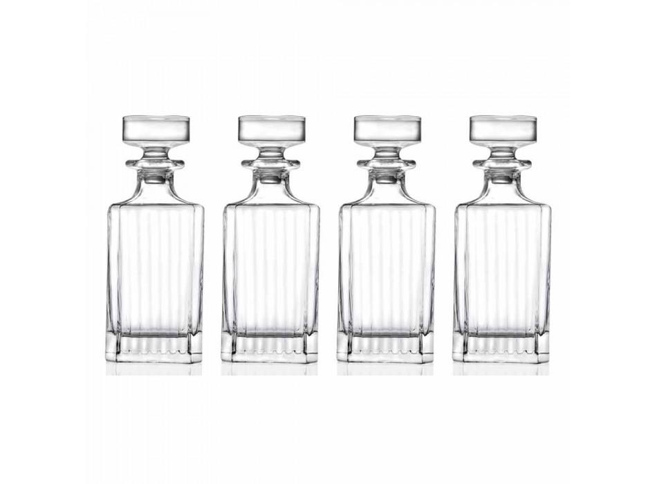 4-Piece Square Design Eco Crystal Whiskey Bottles - Senzatempo