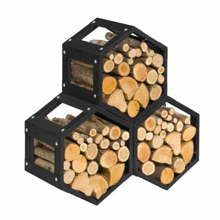 Caf Design Esagono Nero indoor firewood holder made of steel