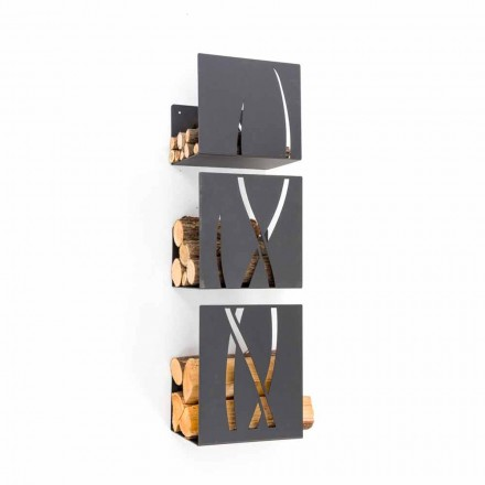 Modern Design Wall Mounted Firewood Holder in Black Steel 3 Pieces - Garigliano