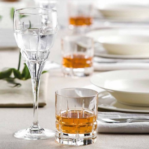 Crystal White Wine Glass with Manual Carvings 12 Pieces - Fiucco
