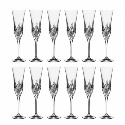 Champagne Flute Glass in Ecological Crystal Decorated 12 Pieces - Advent