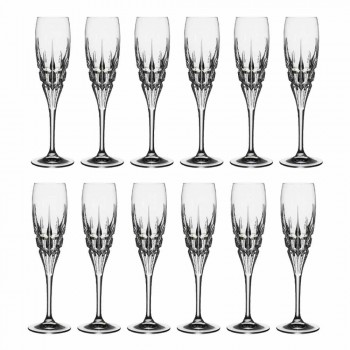 Crystal Flute Glass for Champagne in Ecological Crystal 12 Pieces - Fiucco
