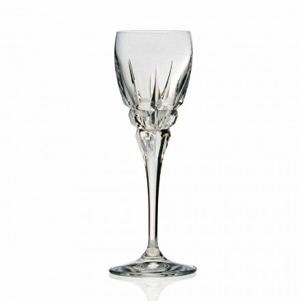Glass for Red Wine in Ecological Crystal Hand Cut 12 Pcs, Luxury Line - Fiucco