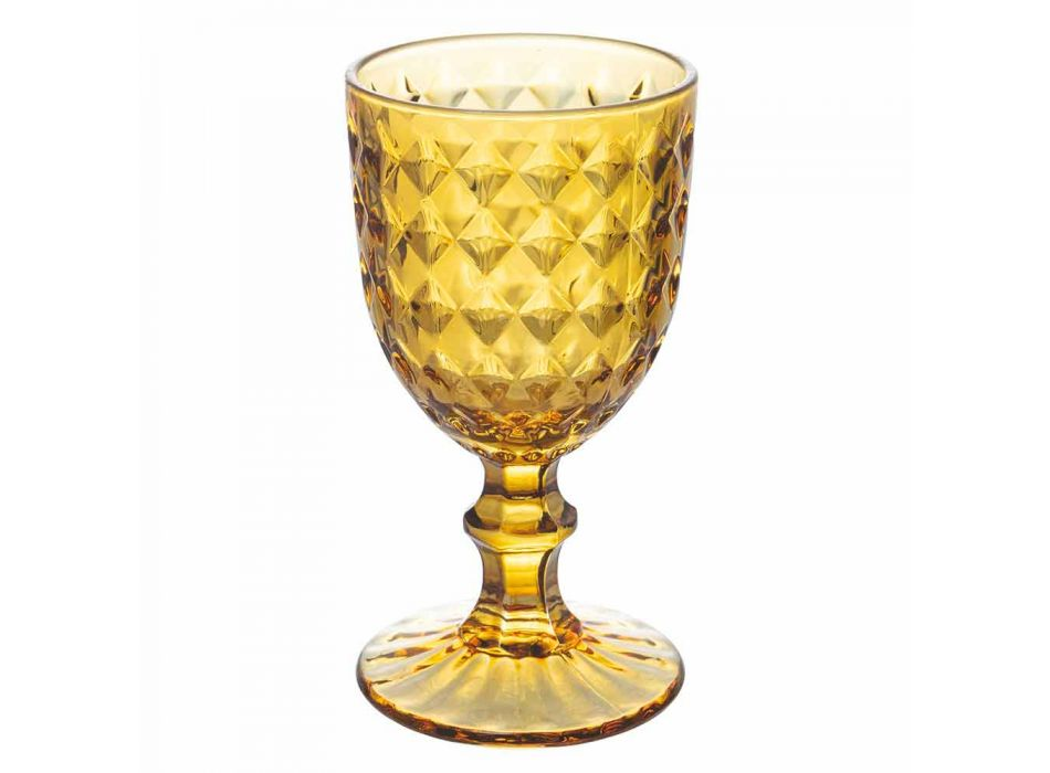Colored Glass Goblets in Relief Decorated Glass, 12 Pieces - Angers