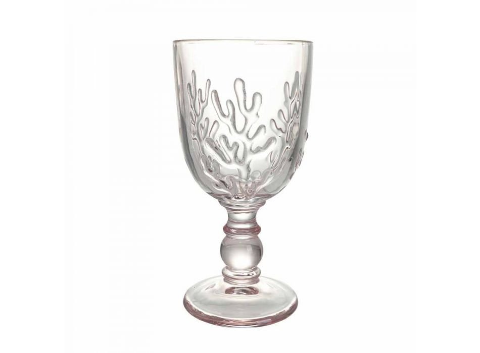 Colored Goblets in Glass and Coral Decoration, 12 Pieces - Crimson