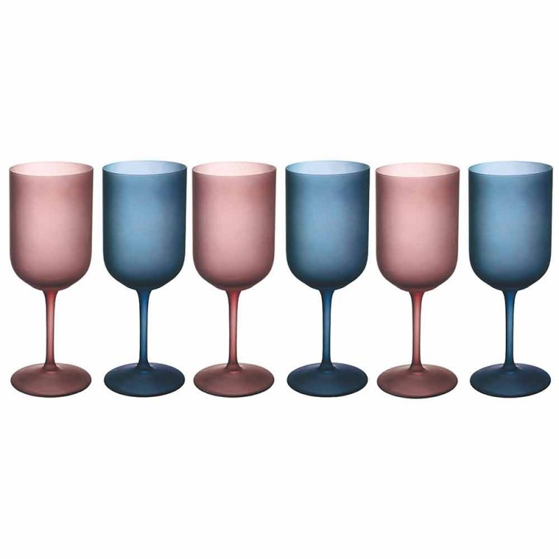 Colored Wine Glasses in Frosted Glass with Ice Effect 12 Pieces - Norvegio