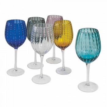 Colored and Modern Glass Wine Glasses 12 Pieces Elegant Service - Persia
