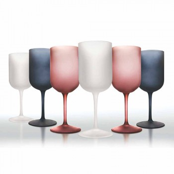 Colored Gravel Effect Frosted Glass Wine Glasses, 12 Pieces - Autumn