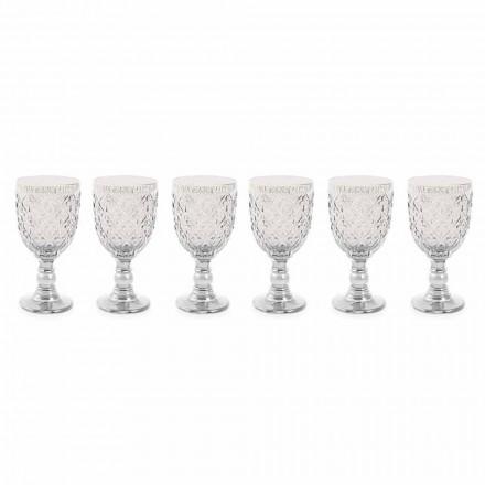 Transparent Glass Wine Glasses with Arabesque Decoration 12 Pieces - Morocco