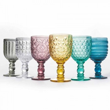 Colored Glass Decorated Goblets Water or Wine Service 12 Pieces - Mix