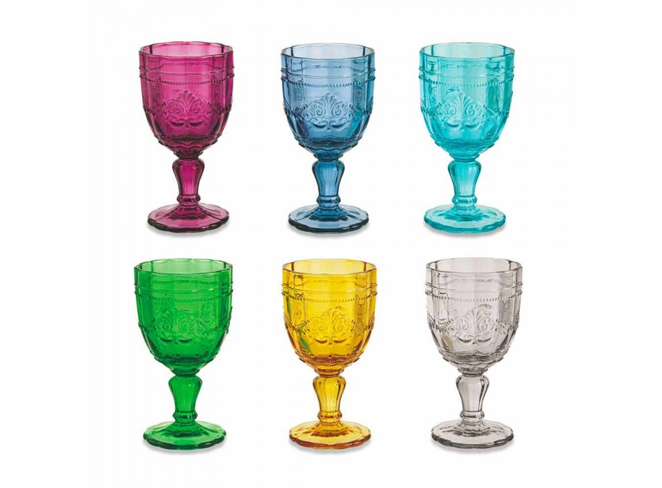 Colored Wine Goblets in Glass with Arabescato Decoration, 12 Piece Service - Screw
