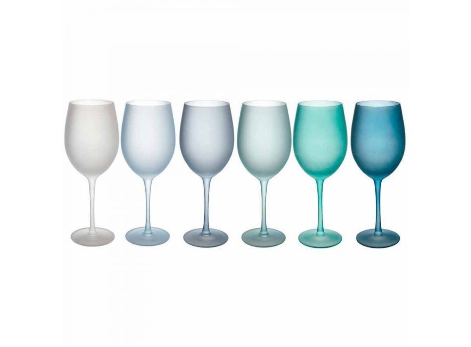 Colored Wine Glasses in Frosted Glass with Ice Effect, 12 Pieces - Autumn