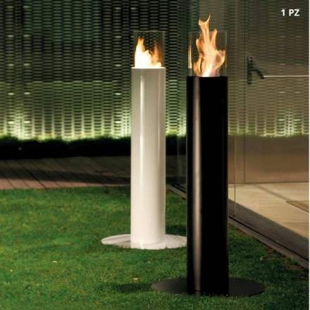 Outdoor freestanding bioethanol fireplace made of steel Dean
