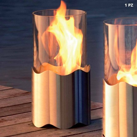 Tabletop bioethanol fireplace made of stainless steel and glass Leon