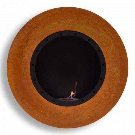 Round Design Wall Bioethanol Fireplace in Painted Steel - Trenton