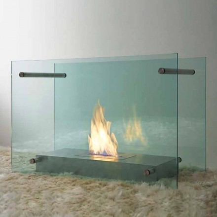 Floor Bioethanol Fireplace in Glass and Steel Design for Indoor - Edison