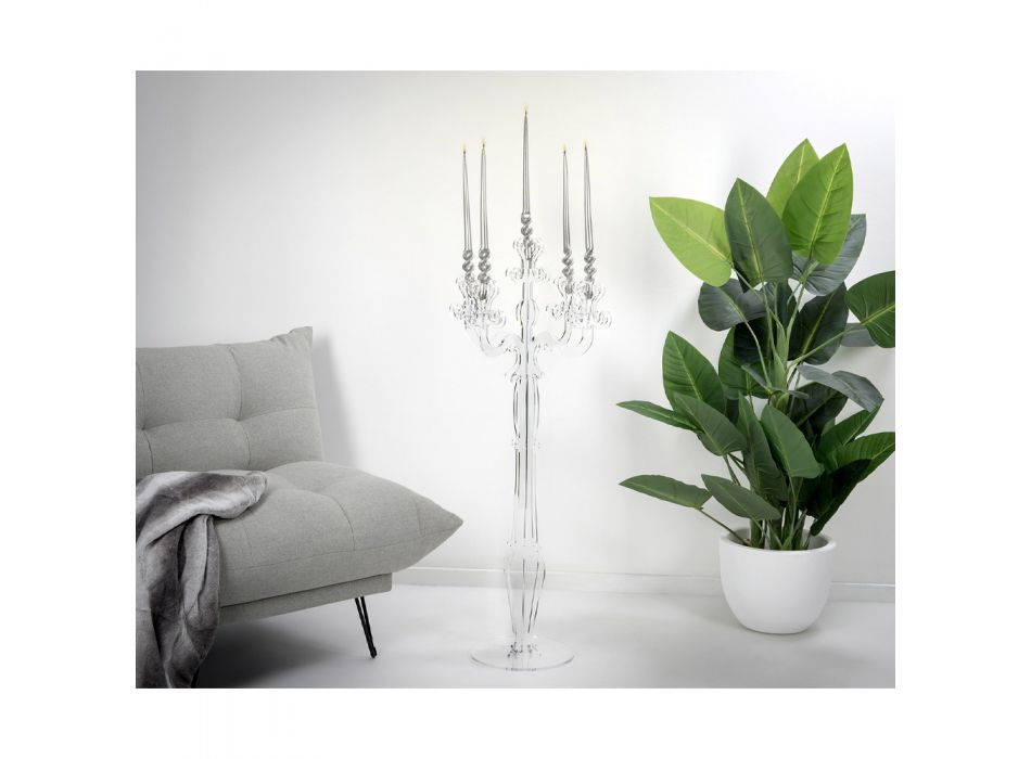 Transparent Plexiglass Candelabra with 3 Flames Made in Italy - Paolino