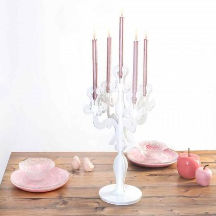 Classic design medium candle-holder, 5 arms in plexiglass, Aragona