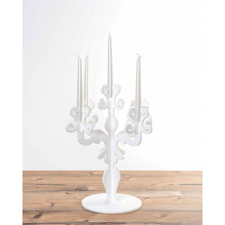 Renaissance design tall candle-holder, 5 arms in plexiglass, Aragona