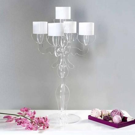 Reinassance small design candle-holder, 5 arms in  plexiglass, Nulvi