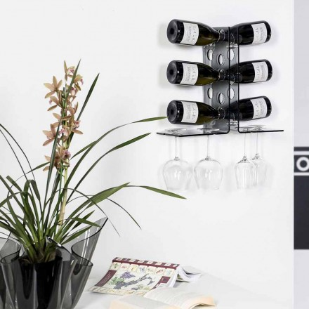 Modern wall fixed wine rack Luna, fumé finish, made in Italy