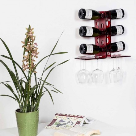 Wall mounted wine with a modern design Luna, red finish, made in Italy