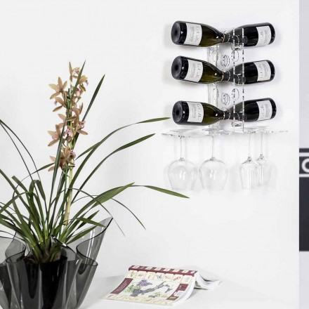 Modern wall fixed wine rack Luna, transparent finish, made in Italy