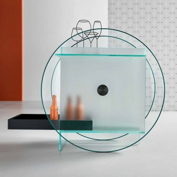 Bar Trolley in Extra-clear Glass with Wheels and Extractable Tray - Pigolo