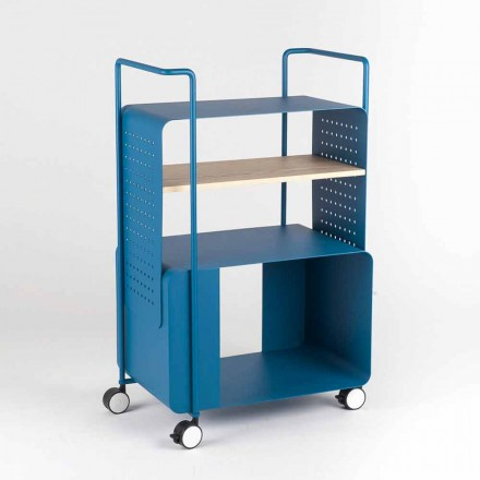 Design Trolley in Steel with Ash Top Made in Italy - Murella