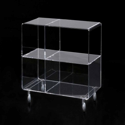 Wheeled storage unit Rob, made of clear methacrylate, modern design