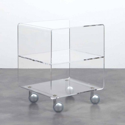 Multipurpose storage unit Rob, clear methacrylate, with wheels