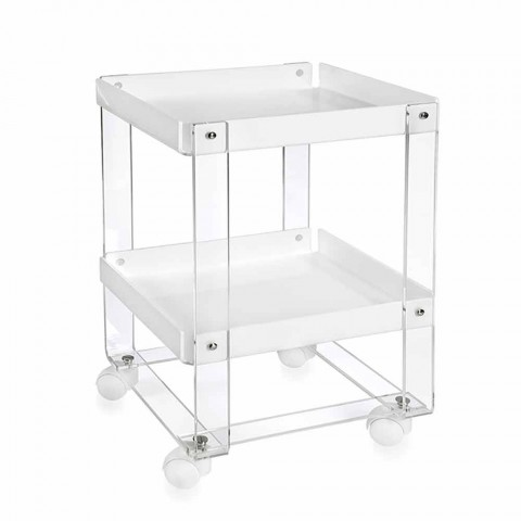 Design serving trolley, with two shelves, in Diso plexiglass