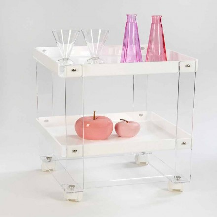 Design food-trolley with 2 shelves in plexiglass, Diso